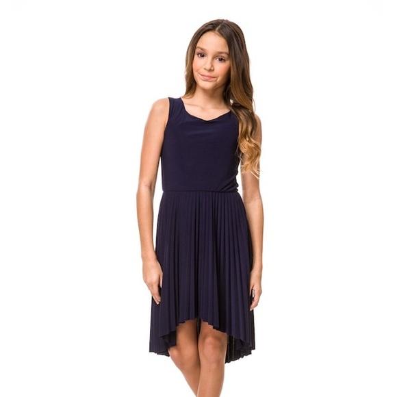 ca7a4a55e Un Deux Trois Dresses | Navy Tween Pleated High Low Dress | Poshmark